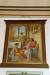 """Tavla med namnet """"Jesus hos Maria och Marta"""" ovan sakristidörr i Hjo kyrka. Neg.nr. 03/241:08. JPG."""