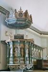 Predikstol av Johan Werner d.ä. i Gustaf Adolfs kyrka. Neg.nr. 04/168:14. JPG.