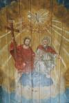 Takmålning av Detleff Ross i Norra Hestra kyrkas kor med motiv av Treenigheten. Neg.nr. B963_046:20. JPG.