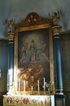 Altaruppsats i Mulseryds kyrka med tavla av A G Ljungström och skulptural utsmyckning från en äldre altaruppsats av Jonas Ullberg. Neg.nr. B963_059:15. JPG.