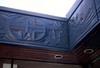 """Detalj av den runt hela kyrkan löpande kraftiga relieffrisen """"Evangelium"""", utförd av Bertil Berggren Askenström. Kompositionen bygger på de fyra evangelisternas budskap."""
