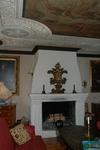 Konserverad plafondmålning samt rekonstruerad murad spis i riddarsalen
