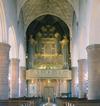 S:t Jacobs kyrka, kyrkorummet mot väster och orgelläktaren.