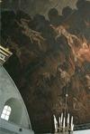 Takmålning ovanför orgelläktaren.
