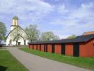 Algutsrums kyrka med kyrkogård.