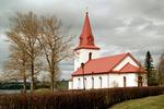 Myssjö kyrka med omgivande kyrkogård, vy från öster.