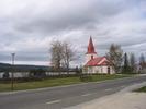 Myssjö kyrka med omgivande kyrkogård, vy från sydöst