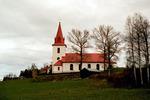 Myssjö kyrka med omgivande kyrkogård, vy från söder.