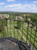 Svegs kyrka med omgivande kyrkogård sett från tornets balkong.    Isa Lindkvist & Christina Persson, bebyggelseantikvarier vid Jämtlands läns museum, inventerade kyrkan mellan 2005-2006. De var även fotografer till bilderna.