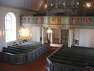 Mörsils kyrka, interiör, kyrkorummet sett från predikstolen mot läktaren i väster.