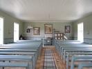 Berghamns kapell, interiör, kapellsalen sedd från söder mot koret i norr.