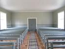 Berghamns kapell, interiör, kapellsalen sedd från norr mot entrén i söder.