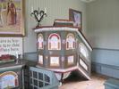 Berghamns kapell, interiör, kapellsalen, predikstolen.